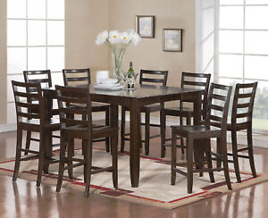 pc square dinette dining counter height table 8 wood seat chairs