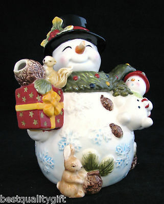 Christmas Holiday Hand Painted Ceramic jolly Snow Man Teapot,tea Pot-32oz
