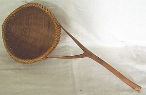 BASKET-LADLE-HANDLE-HAND-M-WEAVING-BASKETRY-HOME-ART-CRAFT-12-5-8-FreeSh-4