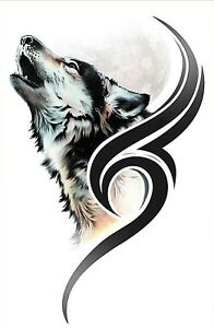 wolf tribal aufkleber tribal tattoos klein ebay. Black Bedroom Furniture Sets. Home Design Ideas