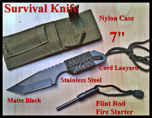 7-FULL-TANG-Fire-Starter-Flint-Magnesium-Rod-Survival-Camping-Knife-Tool-sheath