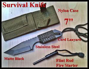7-FULL-TANG-Fire-Starter-Flint-Magnesium-Rod-Survival-Camping-Knife-Tool-sheath