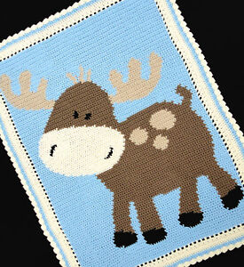 Crochet Patterns Moose Baby Afghan Graph Pattern Easy
