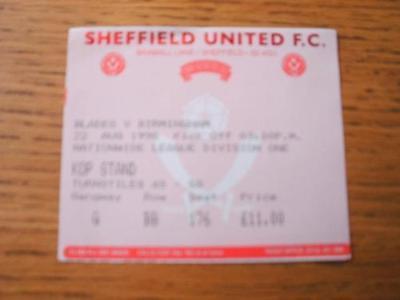22/08/1998 Ticket: Sheffield United v Birmingham City