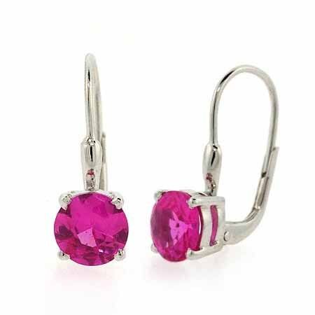 925 Silver 2.56ct Dark Pink CZ Leverback Earrings