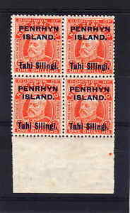 PENRHYN-1914-1-IN-BLOCK-OF-FOUR-SG-23-MNH