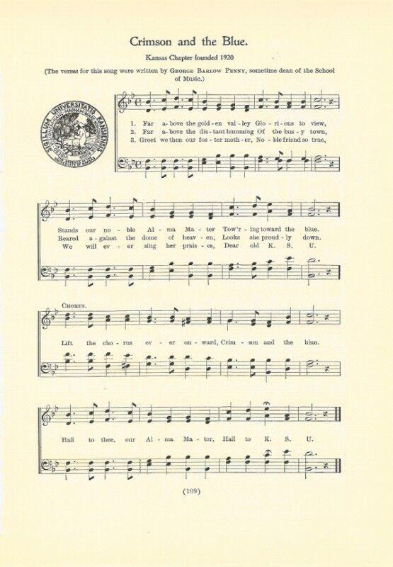 UNIVERSITY OF KANSAS Song w/Seal c1937 Crimson & Blue — original