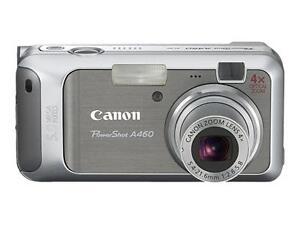 Canon-PowerShot-A460-5-0-MP-Digitalkamera-Silber-gebraucht-mit-Peripherie
