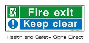 FIRE EXIT KEEP CLEAR 300x100mm EMERGENCY EXIT RIGID PLASTIC SIGN