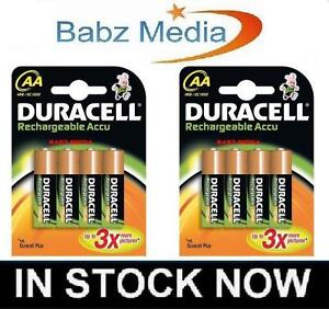 2 X 4 = 8 NEW DURACELL AA ACCU RECHARGEABLE BATTERIES