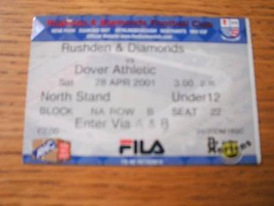 28/04/2001 Ticket: Rushden And Diamonds v Dover Athleti