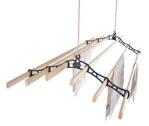 Six-Lath-Victorian-Vintage-Ceiling-Pulley-Maid-Clothes-Airer-Kitchen-Maid
