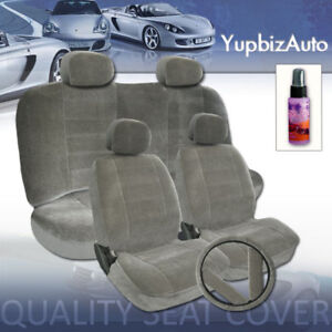 12PCS-GREY-VELOUR-FABRIC-CAR-SEAT-COVERS-GIFT-SET-NEW