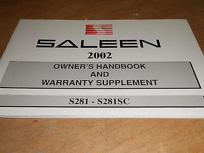 2002 Saleen S281 S281sc Owners Handbook Manual