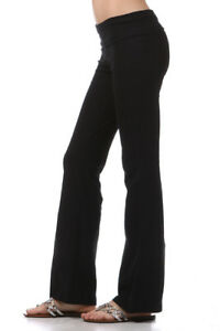 YOGA Pants Basic Long Fitness Foldover Flare Leg S M L