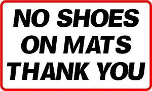140x80mm no shoes on mat sticker fitness centre gym spa ebay - No shoes doormat ...