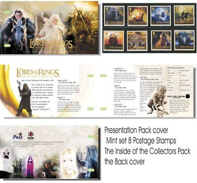 LORD OF THE RINGS STAMPS SET OF 8 PRESENTATION PACK FROM ISLE OF MAN - HOBBIT on Rummage