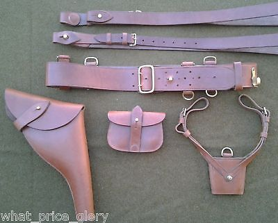 Complete British Sam Browne Belt  and Webley Leather Holster Set