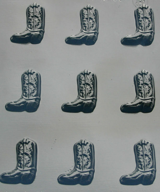 Cowboy Boot (9) Bite Size Chocolate Candy Mold Party Favors Cupcake Toppers