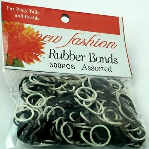 300-BLACK-WHITE-ELASTIC-HAIR-BANDS-PLAITS-BRAIDS-FASHION-HAIR-ACCESSORIES-NEW