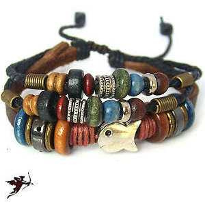 Ethnic-bracelet-wristband-wood-beads-fish-hemp-leather