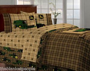 NEW-JOHN-DEERE-TRACTOR-PLAID-TWIN-7PC-BEDDING-SET