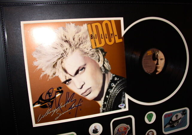 BILLY IDOL Whiplash Smile signed framed LP PSA DNA COA backstage pass VIP record