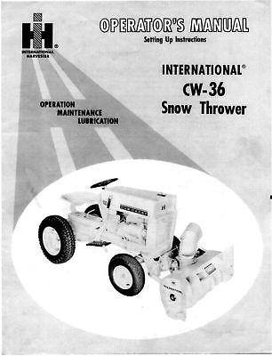 Cub Cadet Cw36 Snow Thrower Operator Maintenence Manual