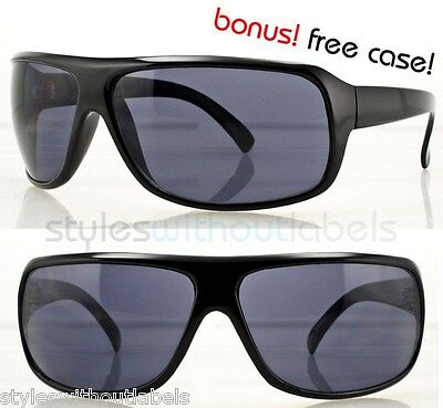 Sport Wrap Around Driving Biker Sunglasses Vision Black