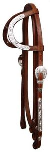 SHOWMAN-WESTERN-SHOW-BRIDLE-HEADSTALL-W-7-SPLIT-REINS-GREAT-W-SADDLE