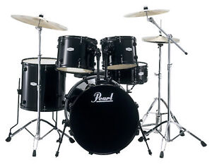 PEARL-FORUM-FZH725-5PC-COMPLETE-DRUM-SET-W-CYMBALS-HARDWARE-JET-BLACK-ES