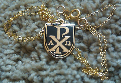 chi-rho Or sigla / Alpha-omega Pendant With Free /24 Chain