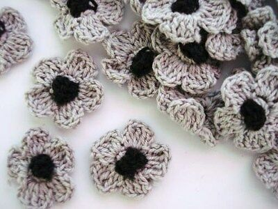 50 Hand Crochet Daisy 1 Flower/trim/sewing/bow/knit/yarn/craft/black C6-grey