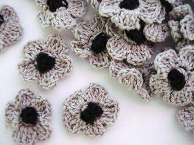 50 Hand Crochet Daisy 1 Flower/trim/sewing/bow/knit/yarn/craft/black C6-grey