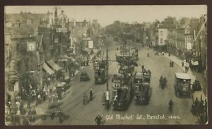 Glos-BRISTOL-Old-Market-St-Trams-Theatre-RP-PPC