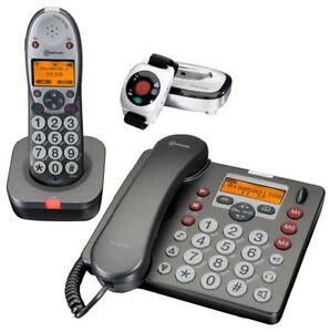 amplicom powertel 680 combo telefonset mit vibrationsalarm notruf armband 4260010593350 ebay. Black Bedroom Furniture Sets. Home Design Ideas