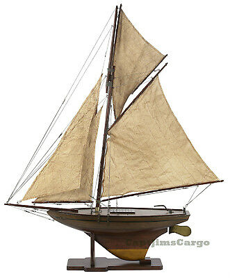 """Victorian Pond Yacht 37"""" Model Wooden Sailboat Authentic Models Boat"""