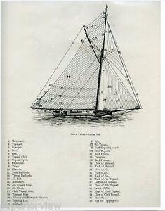 Vintage Sailboat Sketch Sloop-Yacht-Sai...
