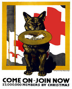 Vintage-Red-Cross-POSTER-Stylish-Graphics-German-Shepherd-Dog-Decor-Army-1027
