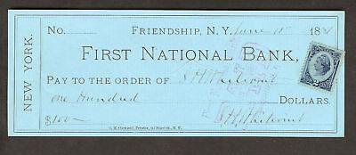 First National Bank  Friendship  N Y   1887