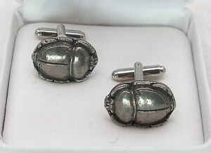Egyptian Scarab Cufflinks, Fine English Pewter, beatle