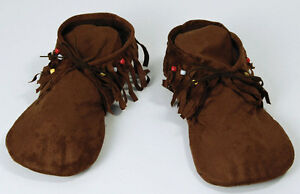 Mens Red INDIAN MOCCASINS Fancy Dress Hippy 60s 70s Shoes. One Size to fit 8-11