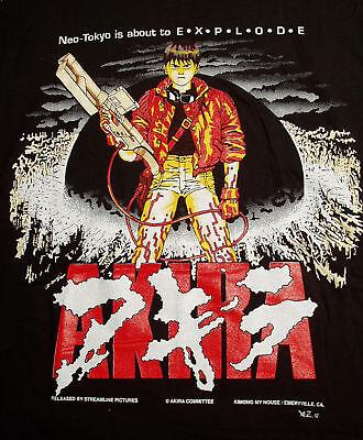 AKIRA KANEDA BLACK  T-SHIRT SIZE XL  VINTAGE ANIME JAPAN NEO TOKYO VINTAGE 1989