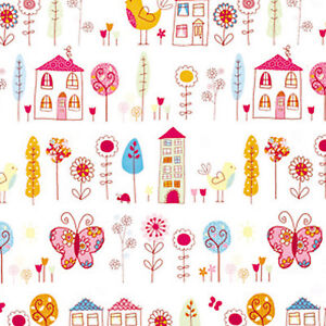 COTTON-CUTE-BABY-FABRIC-BUTTERFLY-FLORAL-PINK-VIOLET