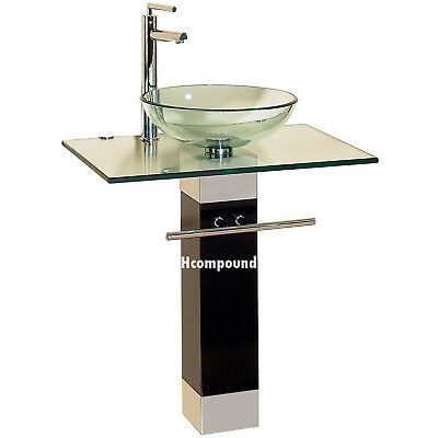 modern Bathroom vanities pedestal glass bowl vessel Sink combo w faucet set 9