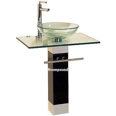 modern Bathroom vanities pedestal glass bowl vessel Sink combo w faucet set 9