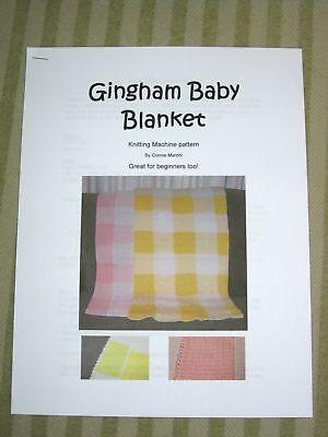 New Gingham Baby Blanket knitting machine pattern