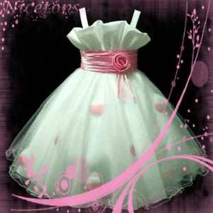 Details about lt pink christmas party girls dress age 2 3 4 5 6 7 8 9