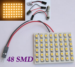 Warm-White-Light-Panel-48-SMD-LED-Bulb-T10-Festoon-Dome-Bulb-BA9S-12V-DC-Adapter
