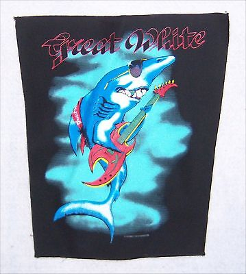 GREAT WHITE SHARK W/ GUITAR 1987 VINTAGE BACK PATCH NOS
